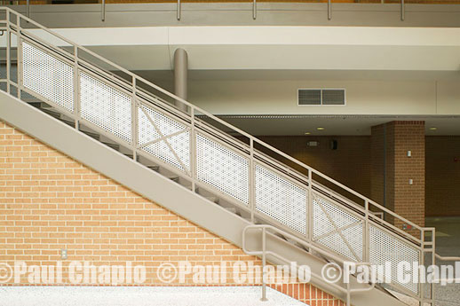 Stairs, steel hand rail, detail, material, furniture photography Dallas Photographer Digital Texas TX