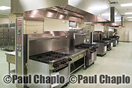 Commercial kitchen photography Dallas TX Texas Digital Photographers Paul Chaplo Stainless steel stoves vent hoods